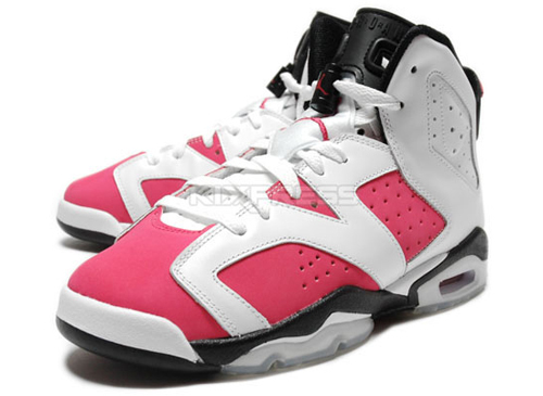 Jordan Pink Sole Black White Pink Stripe White Lace