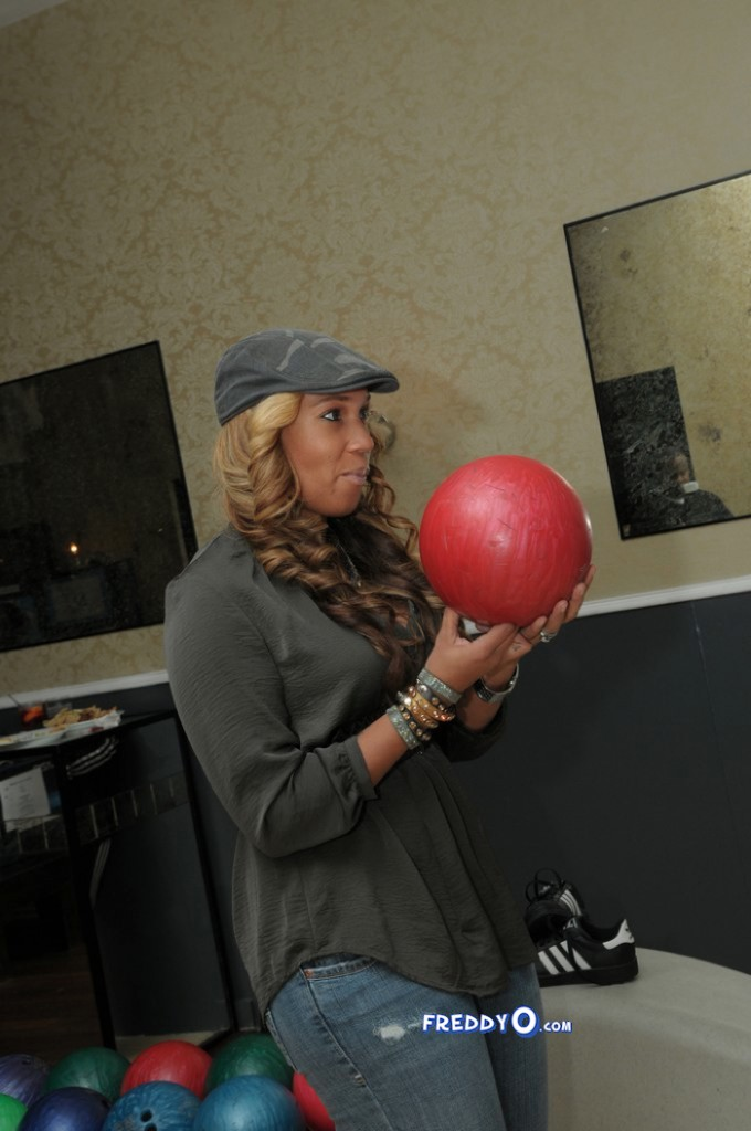 Chanita Foster concentrates on her bowling effort
