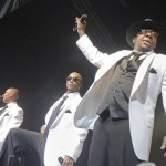 Bobby Brown, right, with New Edition