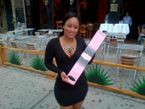 s it me or is Tahiry holding a L'ACIREMA Brazilian Hair Box in front of her job? In the same uniform as tonight? Do you think she is the restaurant manager?