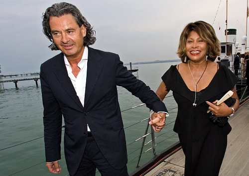 "Singer Tina Turner and her long-term German partner Erwin Bach arrive for the premiere of Giacomo Puccini's ""Tosca"" in Bregenz"