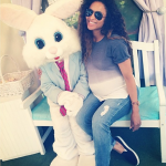 Ciara Poses with the Easter Bunny While Enjoying ICE CREAM!