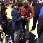 VIDEO: Manny Pacquiao and Floyd Mayweather Meet at Miami Heat's Game