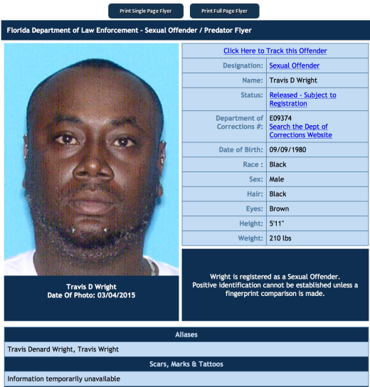 Travis Denard Wright - Photo Credit Florida Dept of law enforcement predator list