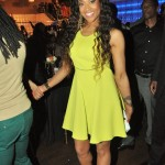 a $695 neon yellow racerback Just Cavalli dress and $695 Gucci Victoire Sandals.