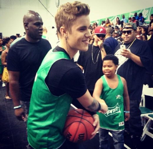 Justin Beiber mingling with guests after the BETXCelebBball Game powered by Sprite