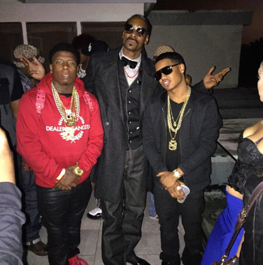from l to r: murder gang's maybaxh hot, snoop dogg, mmg's tracy t