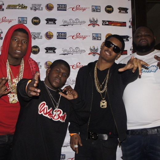from l to r: Murder gang's maybaxh hot, a-town, mmg's Tracy t, & snacks