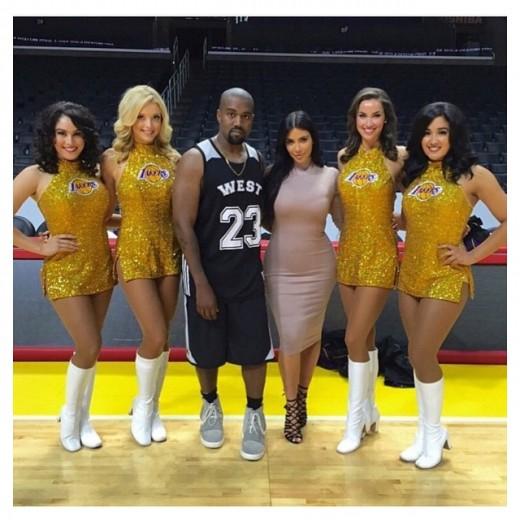 kim kanye lakers cheerleaders